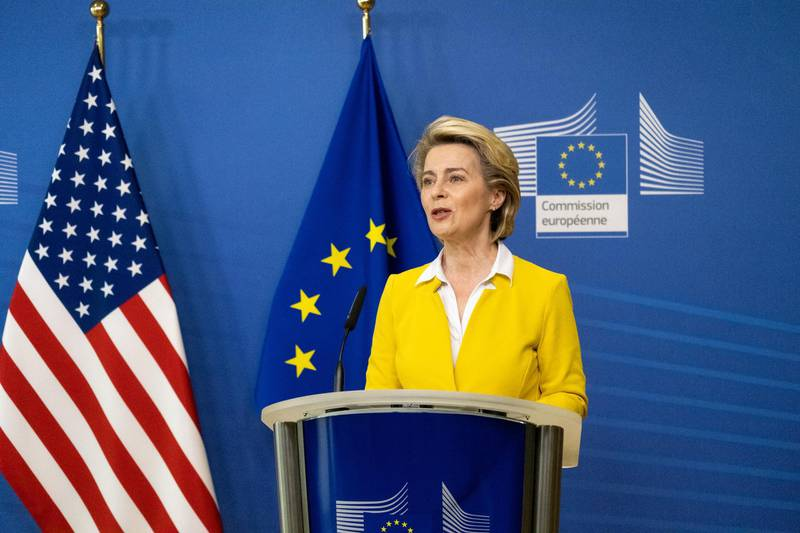 """Ursula von der Leyen, president of the European Commission, speaks during a news conference with Antony Blinken, U.S. secretary of state, not pictured, during a news conference in the Berlaymont building in Brussels, Belgium, on Wednesday, March 24, 2021. Blinken said the Biden administration won't demand that its allies make a choice between the U.S. and China, offering the most cogent explanation yet for efforts to restore alliances after four years of """"America First."""" Photographer: Martin Bertrand/Pool/Bloomberg"""