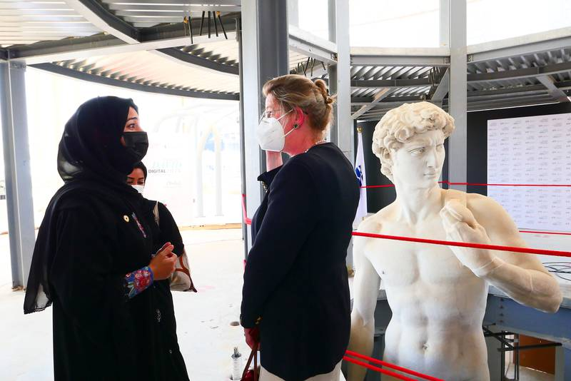 Reem Al Hashimy, UAE Minister of State for International Cooperation and Cecilie Hollberg, director of the Galleria dell'Accademia Di Firenze, the museum that is home to the original of Michelangelo's David during the unveiling ceremony of David statue at the Italy pavilion at EXPO 2020 site in Dubai on April 27,2021.  (Pawan Singh/The National) Story by Ramola