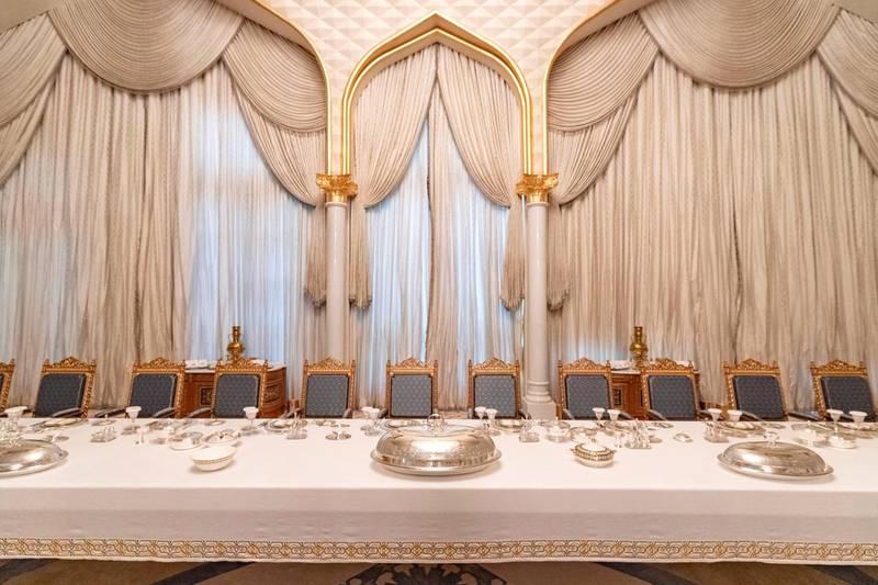 Abu Dhabi, United Arab Emirates - March 11, 2019: The Presidential banquet hall. Exclusive preview and guided tour of Qasr Al Watan, the UAEÕs new cultural landmark. Monday the 11th of March 2019 at Qasr Al Watan, Abu Dhabi. Chris Whiteoak / The National