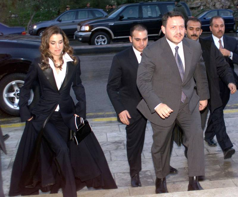 400283 04 King Abdullah II (3rd R) and his wife Queen Rania arrive to attend a celebration for his birthday January 29, 2002 in Amman. King Abdullah, born on January 30 1962, marked his 40th birthday by attending a celebration and by visiting with children being treated for cancer ahead of his departure to the US for talks with President George W. Bush on the latest developments in Middle East. (Photo by Salah Malkawi/Getty Images)