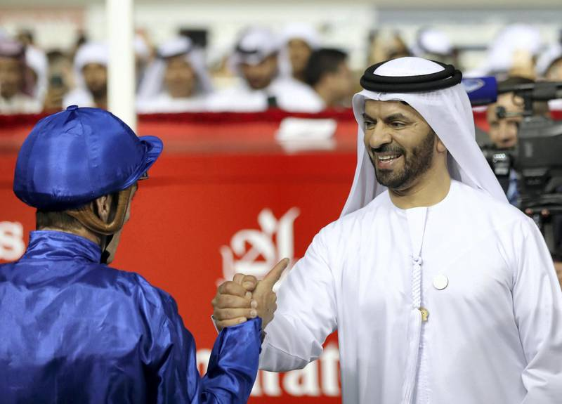 Dubai, United Arab Emirates - March 17, 2019: Thunder Snow ridden by Christophe Soumillon trained by Saeed bin Suroor (R) wins the Dubai World Cup during the Dubai World Cup. Saturday the 30th of March 2019 at Meydan Racecourse, Dubai. Chris Whiteoak / The National