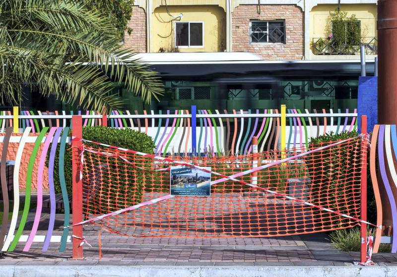 Abu Dhabi, United Arab Emirates, April 9, 2020.  A cordoned off park to keep residents safe from the Coronavirus at Al Falah Street, Abu Dhabi.Victor Besa / The NationalSection:  NAReporter: