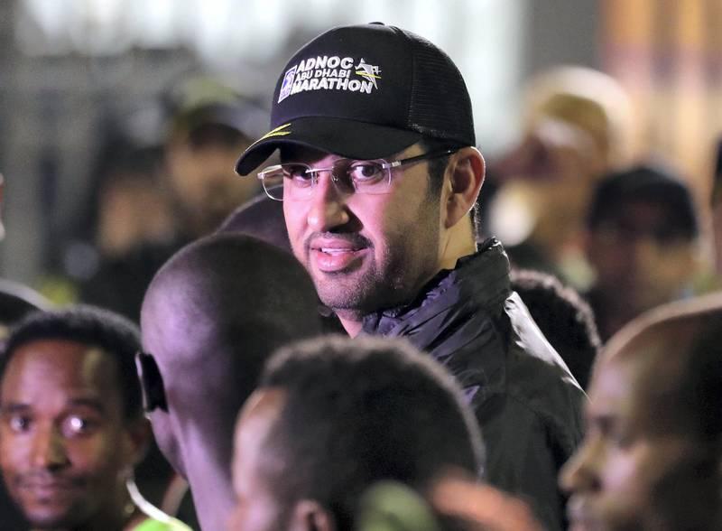 Abu Dhabi, United Arab Emirates - December 06, 2019: Dr Sultan Al Jaber before the ADNOC Abu Dhabi marathon 2019. Friday, December 6th, 2019. Abu Dhabi. Chris Whiteoak / The National