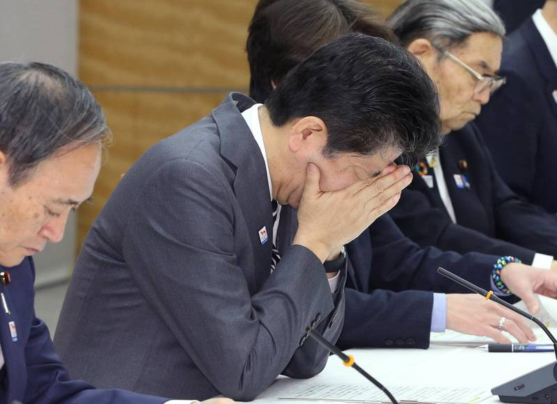Japan's Prime Minister Shinzo Abe attends a meeting about Tokyo 2020 Olympics and Paralympics at the prime minister's office in Tokyo on February 14, 2020.    ( The Yomiuri Shimbun )