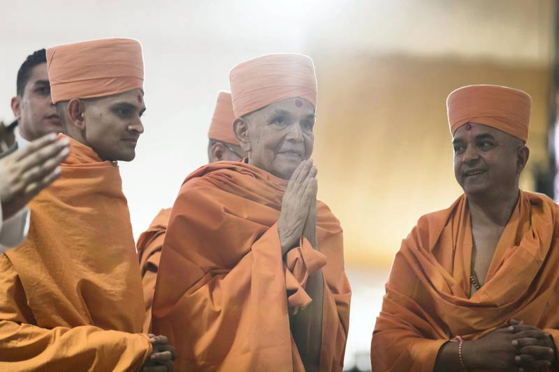 ABU DHABI, UNITED ARAB EMIRATES - April 20 2019.His Holiness Mahant Swami Maharaj, the spiritual leader of BAPS Swaminarayan SansthaThe Shilanyas Vidhi, The Foundationceremony of the first traditional Hindu Mandir in Abu Dhabi, UAE. The Vedic ceremony is performed in the holy presence of His Holiness Mahant Swami Maharaj, the spiritual leader of BAPS Swaminarayan Sanstha.(Photo by Reem Mohammed/The National)Reporter:Section: NA + BZ
