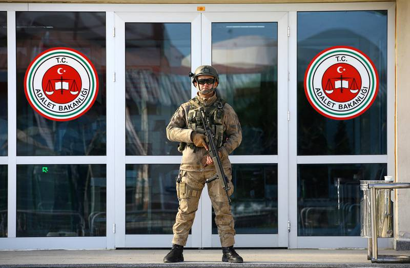 A Turkish soldier stands guard outside the Silivri Prison and Courthouse complex near Istanbul, Turkey March 9, 2018. REUTERS/Huseyin Aldemir