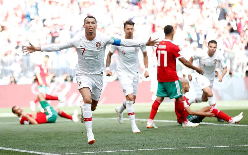 Soccer Football - World Cup - Group B - Portugal vs Morocco - Luzhniki Stadium, Moscow, Russia - June 20, 2018   Portugal's Cristiano Ronaldo celebrates scoring their first goal        REUTERS/Carl Recine     TPX IMAGES OF THE DAY