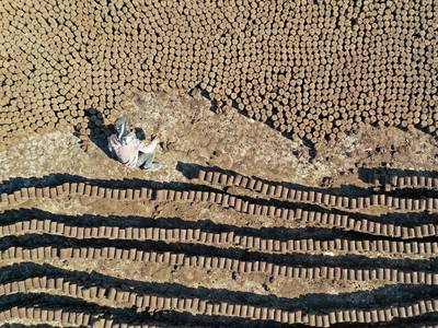 Syrian workers use olive oil to make eco-friendly pomace wood - in pictures