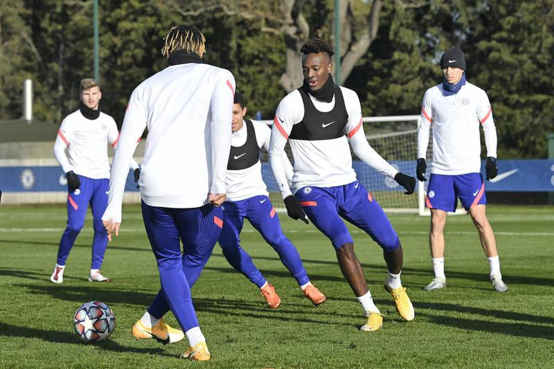 COBHAM, ENGLAND - DECEMBER 01:  Tammy Abraham of Chelsea during a training session at Chelsea Training Ground on December 1, 2020 in Cobham, United Kingdom. (Photo by Darren Walsh/Chelsea FC via Getty Images)