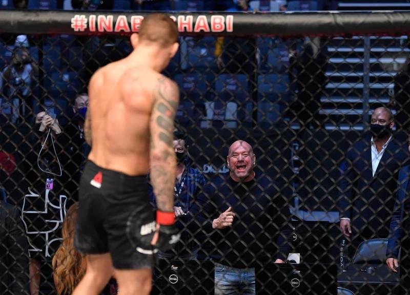 UFC president Dana White congraulates Dustin Poirier after his win over Conor McGregor. Jeff Bottari/Zuffa LLC