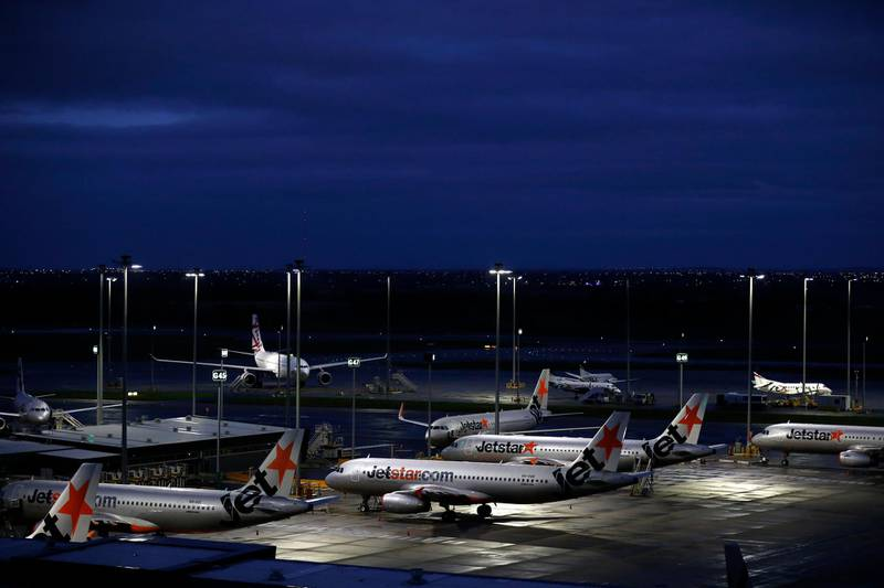 MELBOURNE, AUSTRALIA - APRIL 12: As the novel corona virus (COVID-19) continues to spread across the globe commercial airline travel has all but stopped. Airline jets are grounded at Melbourne Airport due to travel restrictions in Australia.    (COVID-19) (Photo by Darrian Traynor/Getty Images)