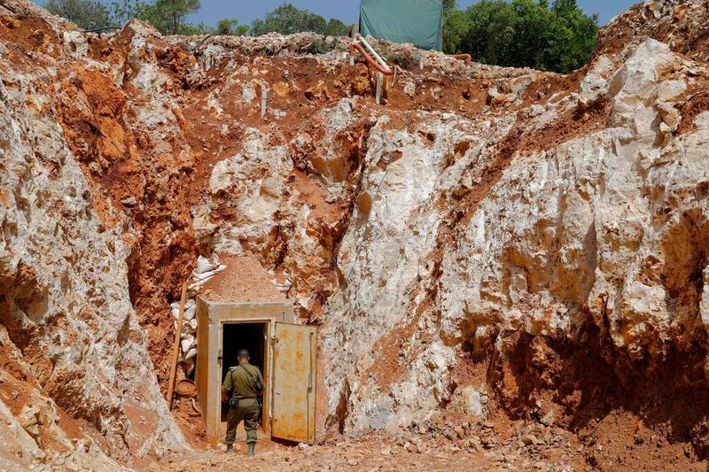 """A picture taken on June 3, 2019 during a guided tour with the Israeli army shows the entrance to a tunnel at the Israeli side of the border with Lebanon in northern Israel. A UN peacekeeping force in Lebanon said on April 25, a tunnel discovered earlier this year by Israel had crossed the Lebanese-Israeli border, in the third such breach of a ceasefire resolution. Israel in January accused Lebanese Shiite movement Hezollah of having dug what it described as the deepest, """"longest and most detailed"""" tunnel it had discovered. UNIFIL said the tunnel was the third to have crossed the """"blue line"""", a demarcation line drawn by the UN to mark Israel's withdrawal from southern Lebanon in 2000. / AFP / JACK GUEZ"""