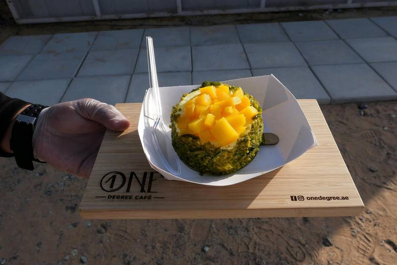 DUBAI, UNITED ARAB EMIRATES , March 1, 2021 – Mango ice cream at the One Degree Café in Margham area in Dubai. (Pawan Singh / The National) For Lifestyle/Instagram/Online. Story by Janice