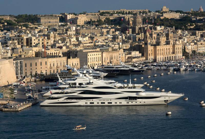 MA2KY6 Sir Philip Greens 90 meter luxury super yacht Lionheart moored in Grand Harbour , Malta