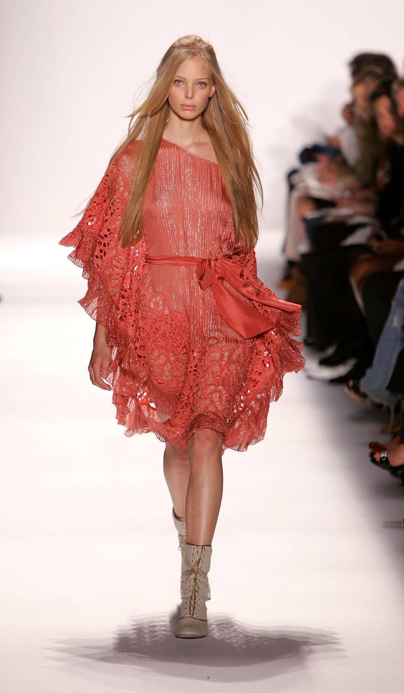 NEW YORK - SEPTEMBER 08:  A model walks the runway at the BCBG Max Azria Spring 2007 fashion show during Olympus Fashion Week at the Tent in Bryant Park September 8, 2005 in New York City.  (Photo by Mark Mainz/Getty Images For BCBG Max Azria)