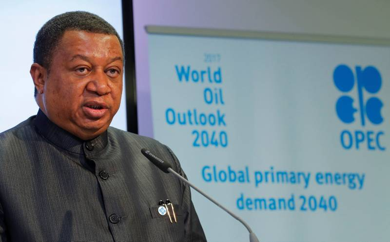 OPEC Secretary-General Mohammad Barkindo addresses a news conference in Vienna, Austria, November 7, 2017. REUTERS/Heinz-Peter Bader