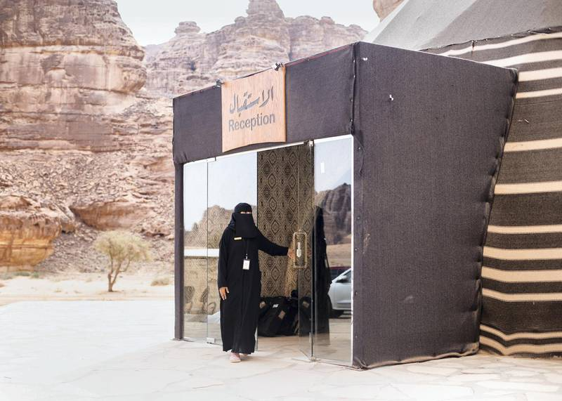 RIYADH, KINGDOM OF SAUDI ARABIA. 29 SEPTEMBER 2019. Ghadeer works as the reception office supervisor at Shaden Desert Resort in Al Ula. She started working in the resort in 2018. (Photo: Reem Mohammed/The National)Reporter:Section: