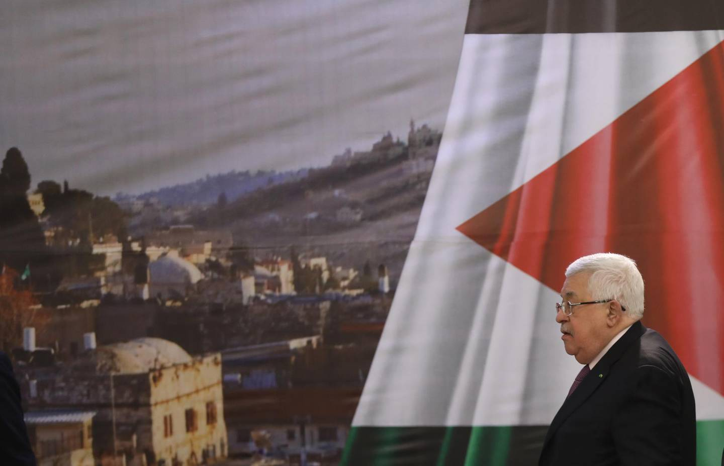 epa08173547 Palestinian President Mahmoud Abbas arrive to deliver his speech in the West Bank city of Ramallah, 28 January 2020. US President Donald J. Trump's Middle East peace plan was rejected by Palestinian leaders, having withdrawn from engagement with the White House after Trump recognized Jerusalem as the capital of Israel. The proposal was announced while Netanyahu and his political rival, Benny Gantz, both visit Washington, DC.  EPA/ALAA BADARNEH