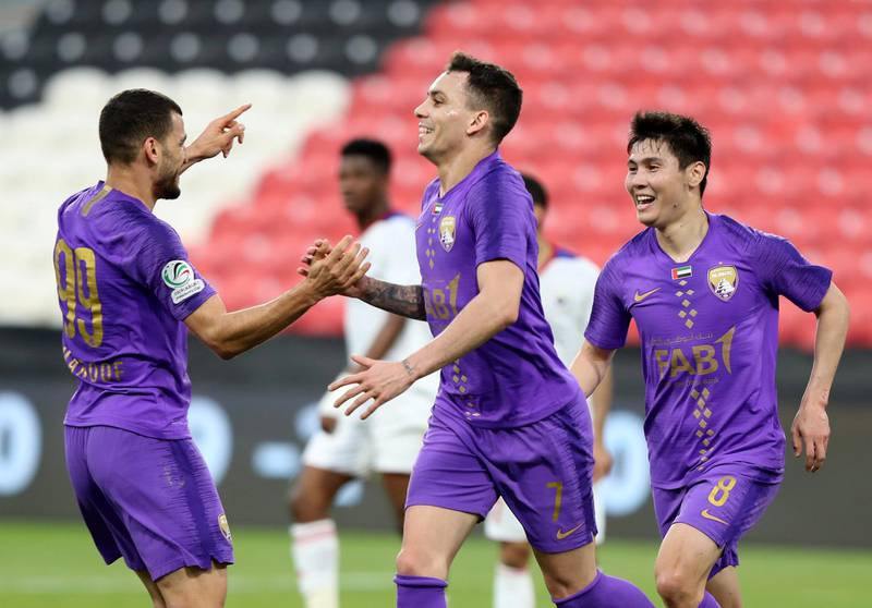Abu Dhabi, United Arab Emirates - Reporter: John McAuley: Caio of Al Ain scores in the game between Sharjah and Al Ain in the PresidentÕs Cup semi-final. Tuesday, March 10th, 2020. Mohamed bin Zayed Stadium, Abu Dhabi. Chris Whiteoak / The National