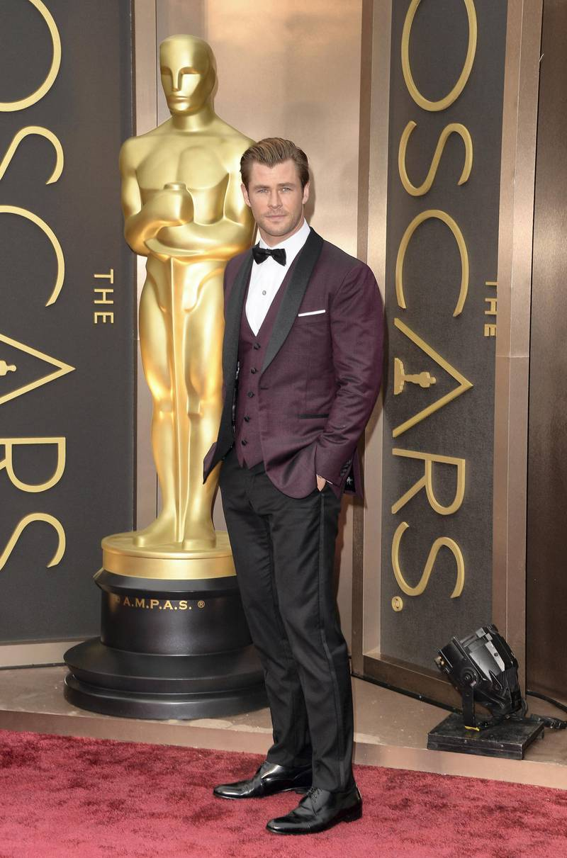 HOLLYWOOD, CA - MARCH 02: Chris Hemsworth attends the Oscars held at Hollywood & Highland Center on March 2, 2014 in Hollywood, California.   Jason Merritt/Getty Images/AFP