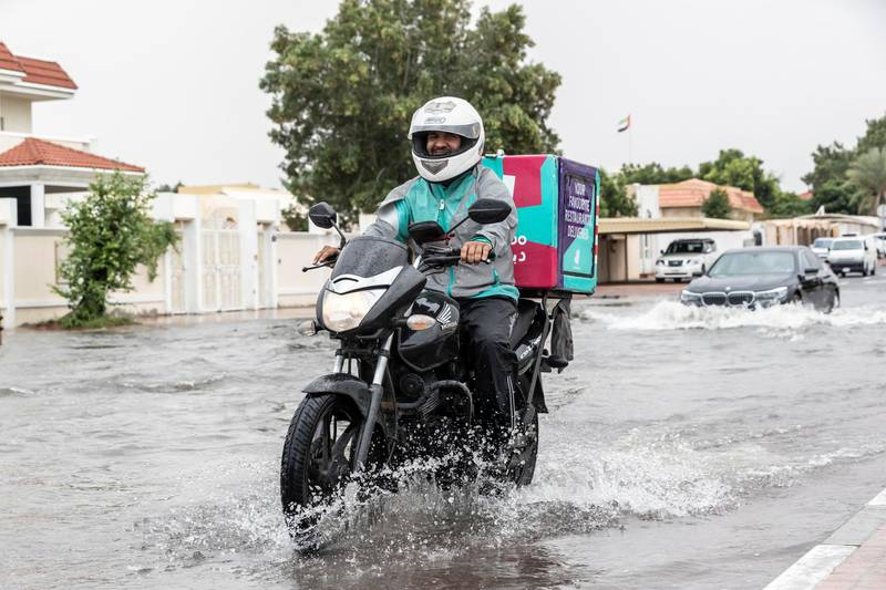 DUBAI, UNITED ARAB EMIRATES. 11 JANUARY 2020. Heavy rains in Dubai during the night caused extensive flooding at intersections within the city. Commuters battle high water along the Al Manara and Beach road intersection. (Photo: Antonie Robertson/The National) Journalist: Standalone. Section: National.