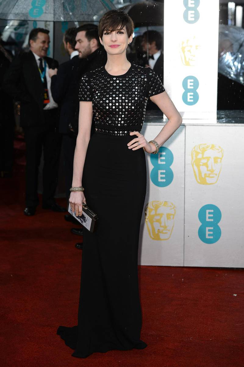 LONDON, ENGLAND - FEBRUARY 10:  Anne Hathaway attends the EE British Academy Film Awards at The Royal Opera House on February 10, 2013 in London, England.  (Photo by Ian Gavan/Getty Images)