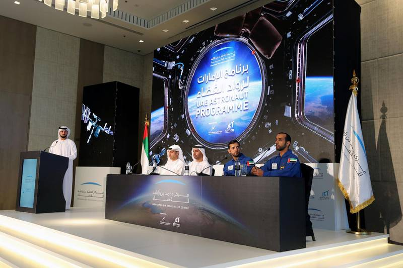 Dubai, United Arab Emirates - Reporter: Sarwat Nasir: Panel L-R Salem Humaid Al Marri, assistant DG, Science and technology sector, Head of the UAE astronaut program, Yusuf Al Shaibani, Director general of MBRSC, Sultan Al Neyadi, back-up astronaut and the UAE's first Emirati astronaut Hazza Al Mansoori. Press conference by MBRSC to announce details of search for next UAE astronaut. Tuesday, 3rd of March, 2020. Downtown, Dubai. Chris Whiteoak / The National