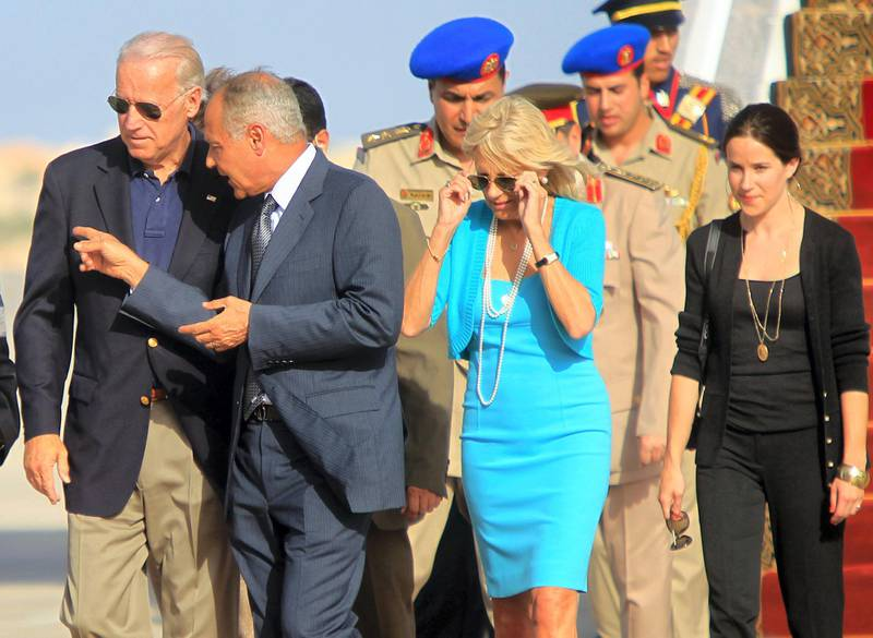 Egyptian Foreign Minister Ahmed Aboul Gheit (2nd-L) receives US Vice President Joe Biden (L) and his wife Jill Biden (C) upon their arrival at Sharm el-Sheikh Airport on June 6, 2010, for a meeting with President Hosni Mubarak on the first leg of an African tour. AFP PHOTO/KHALED DESOUKI (Photo by KHALED DESOUKI / AFP)