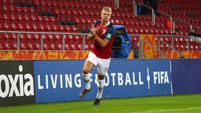 LODZ, POLAND - MAY 24: Erling Haland of Norway celebrates scoring but  the goal was given off-side during the 2019 FIFA U-20 World Cup group C match between Uruguay and Norway at Lodz Stadium on May 24, 2019 in Lodz, Poland. (Photo by Lars Baron - FIFA/FIFA via Getty Images)