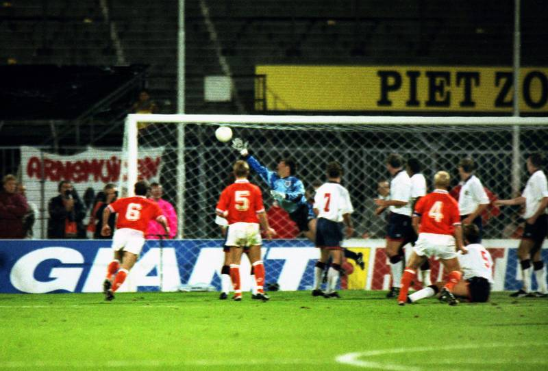 Mandatory Credit: Photo by Colorsport/Shutterstock (3157166a)Ronald Koeman (4) (Holland) scores his goal from a free kick past the diving David Seaman (Eng) Holland v England World Cup Qualifier in Rotterdam 13/10/1993 Holland v EnglandSport
