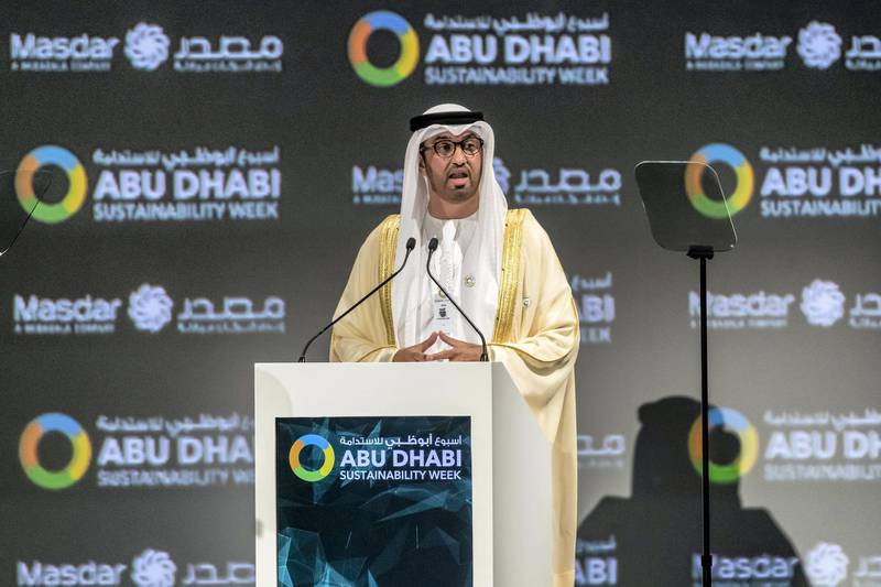 ABU DHABI, UNITED ARAB EMIRATES. 13 JANUARY 2020. The Zayed Sustainability Awards held at ADNEC as part of Abu Dhabi Sustainability Week. H.E. Dr Sultan Ahmed Al Jaber, UAE Minister of State, Chairman of Masdar. (Photo: Antonie Robertson/The National) Journalist: Kelly Clarker. Section: National.