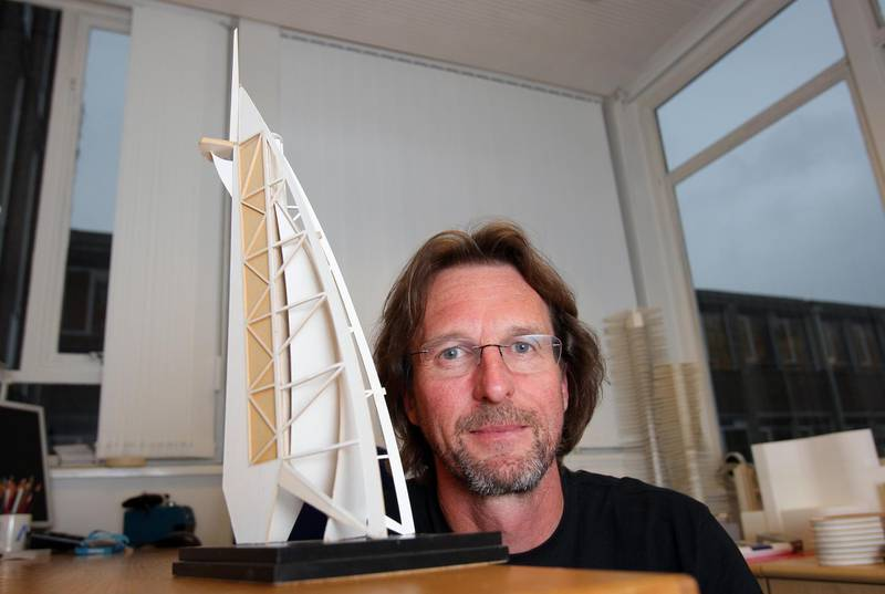 EPSOM. UK. 8th November 2011. UAE. 40. Architect Tom Wright at his office in Epsom, UK, with his original model of the Burj Al Arab which he showed  to Sheikh Mohammed in November 1993. Stephen Lock for The National