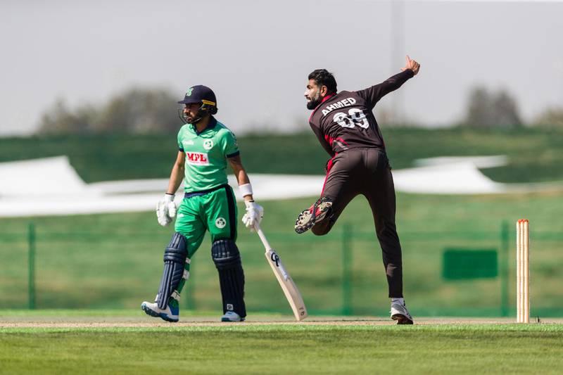 UAE vs Ireland, ODI. 18th January 2021. Zayed Cricket Stadium, Abu Dhabi, UAE. Picture shows Ahmed Raza. Courtesy Abu Dhabi Cricket