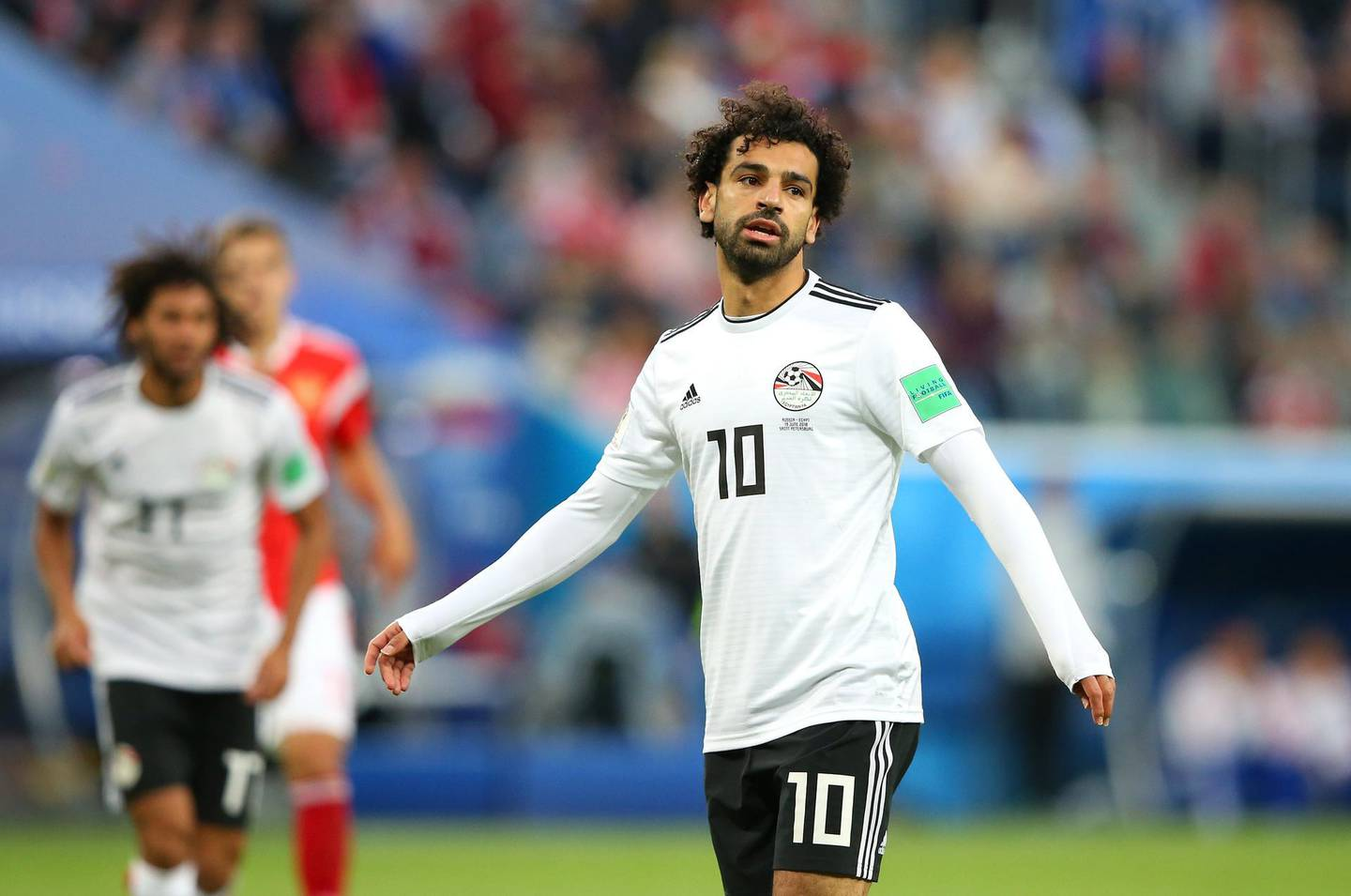 SAINT PETERSBURG, RUSSIA - JUNE 19:  Mohamed Salah of Egypt looks on during the 2018 FIFA World Cup Russia group A match between Russia and Egypt at Saint Petersburg Stadium on June 19, 2018 in Saint Petersburg, Russia.  (Photo by Alex Livesey/Getty Images)
