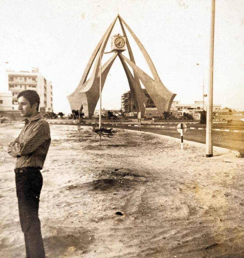 Dubai, United Arab Emirates - May 20, 2019: Copy picture. Rafiq Kasim in Deira clock tower in 1973. An Instagram account tells the stories and photos of South Asians in Gulf, and Khaleejis in South Asia. Monday the 20th of May 2019. Dubai. Chris Whiteoak / The National