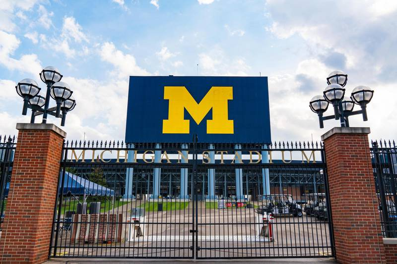 2A7H6PW Ann Arbor, MI - September 21, 2019: Entrance gate at the University of Michigan Stadium, home of the Michigan Wolverines
