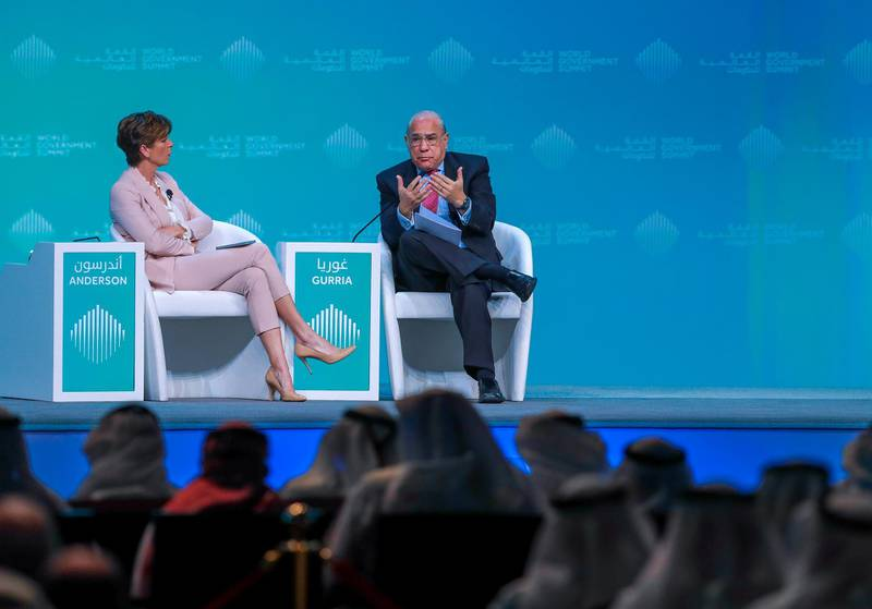 Dubai, U.A.E., February 11, 2019. World Government Summit day 2-DXB.--  The Future of Economy in the Age of 4IR.  HE Jose Angel Gurria, Secretary General, OECD, moderated by Becky Anderson,CNNVictor Besa/The NationalSection:  NAReporter: