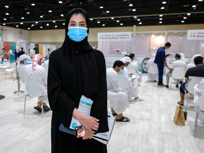 Abu Dhabi, United Arab Emirates, August 6, 2020.  --  Maryam Al Mannaee -26 A busy day at the ADNEC volunteer facility. Victor Besa /The NationalSection: NAReporter:  Shireena Al Nowais