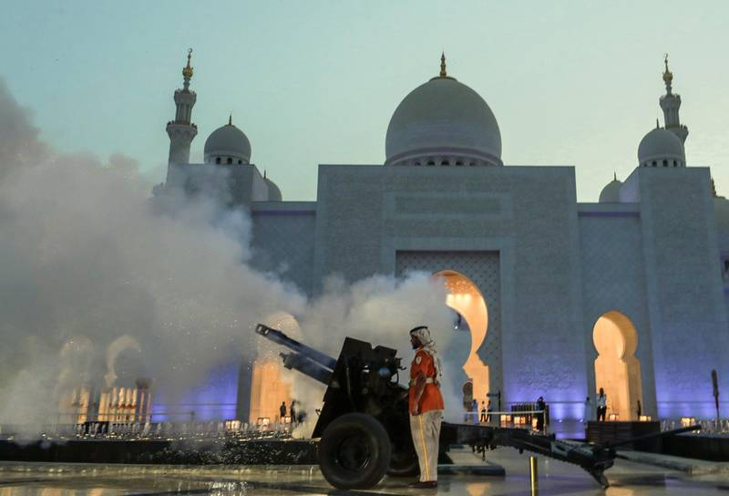 Abu Dhabi, United Arab Emirates, May 6, 2019.    First day of Ramadan at the Sheikh Zayed Grand Mosque. --  A canon is fired to end the fast.Victor Besa/The NationalSection:  NAReporter: