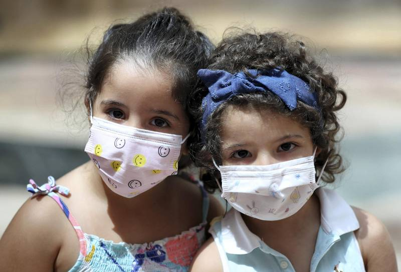 Dubai, United Arab Emirates - Reporter: Kelly Clarke. Coronavirus/Covid-19. Twins Ghazal and Yara (R) Ghnimat. Parents rush to buy PPE for children in time for back-to-school. Sunday, August 23rd, 2020. Dubai. Chris Whiteoak / The National