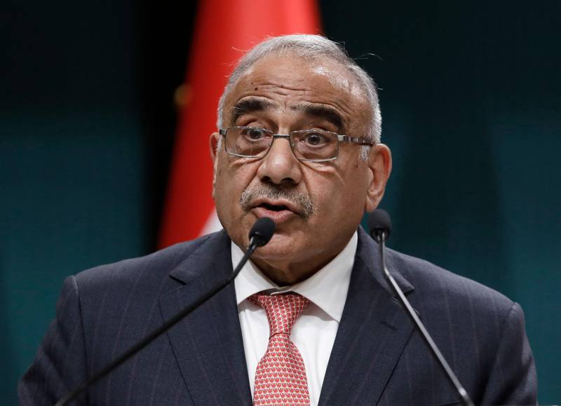 Iraqi Prime Minister Adel Abdul-Mahdi speaks to the media during a joint news conference with Turkish President Recep Tayyip Erdogan, in Ankara, Turkey, Wednesday, May 15, 2019. Erdogan says Turkey and Iraq have discussed a possible deal to increase military and security cooperation between the neighboring countries. (AP Photo/Burhan Ozbilici)