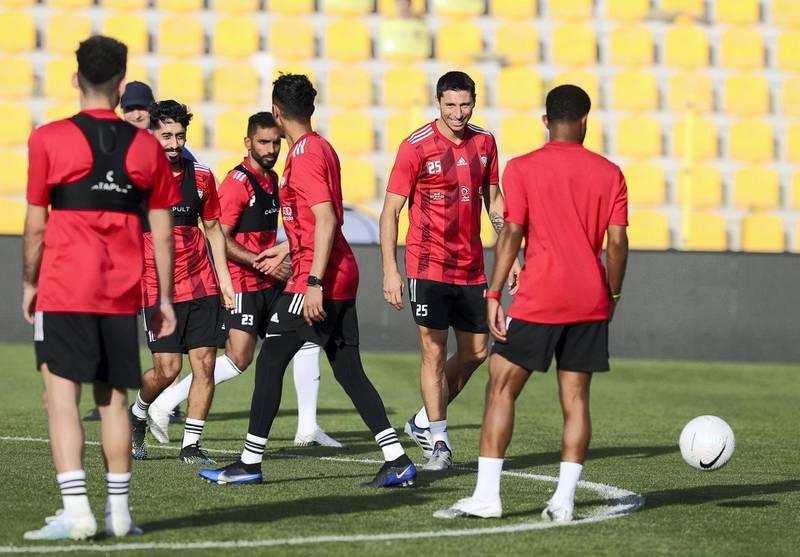Dubai, United Arab Emirates - Reporter: John McAuley. Sport. Football. UAE striker Sebastián Tagliabué during a training session at Zabeel Stadium, Dubai. Saturday, March 27th, 2021. Dubai. Chris Whiteoak / The National