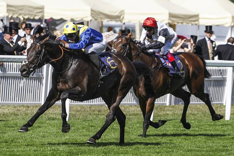 ASCOT, ENGLAND - JUNE 20: James Doyle riding Poet's Word (L) win The Prince of Wale's Stakes from Cracksman (R) on day 2 of Royal Ascot at Ascot Racecourse on June 20, 2018 in Ascot, England. (Photo by Alan Crowhurst/Getty Images for Ascot Racecourse)