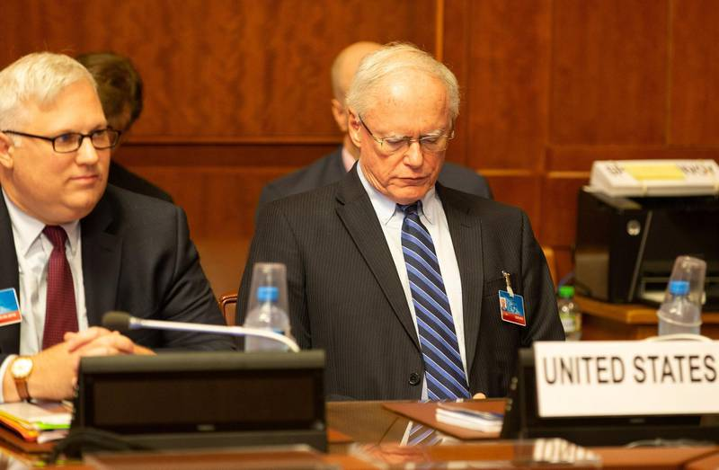 U.S. special envoy for Syria James Jeffrey (R) attends a meeting during the consultations on Syria, at the European headquarters of the United Nations in Geneva, Switzerland September 14, 2018. Xu Jinquan/Pool via REUTERS