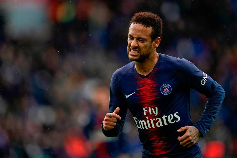 (FILES) In this file photo taken on May 4, 2019 Paris Saint-Germain's Brazilian forward Neymar reacts during the French L1 football match between Paris Saint-Germain (PSG) and OGC Nice at the Parc des Princes stadium in Paris. PSG star striker Neymar has made an appeal against his suspension for three games in the Champions League next season, UEFA told AFP on May 10, 2019, confirming reports in the newspaper L'Equipe. / AFP / Lionel BONAVENTURE