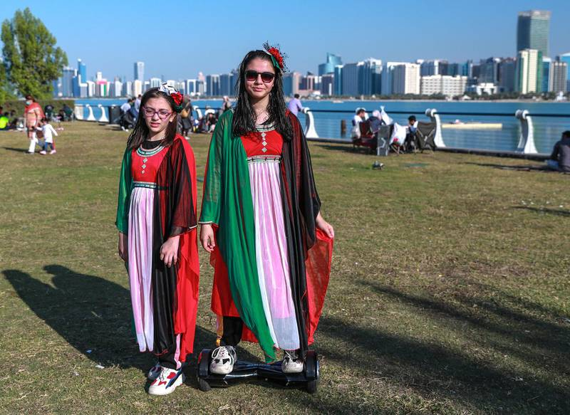 Abu Dhabi, United Arab Emirates, December, 2, 2020.   Abu Dhabi residents wait for the Al Fursan planes to arrive unfortunately the air display got cancelled.Victor Besa/The NationalSection:  National News