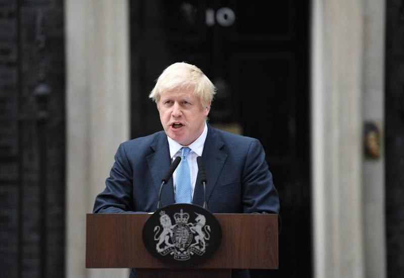 epa07813308 British Prime Minister, Boris Johnson delivers a statement outside 10 Downing street in Westminster, central London, Britain, 02 September 2019. Britain's Prime Minister Boris Johnson has said Britain must leave the EU on 31 October, with or without a deal, prompting a number of British Members of Parliament to unite to try to prevent leaving without an agreement as Parliament assembles on 03 September 2019.  EPA/NEIL HALL