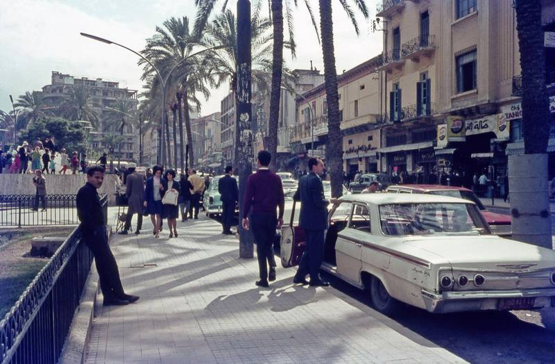 2C5242A A street scene in Beirut in 1967. Beirut is the capital and largest city in Lebanon. It is the third-largest city in the Levant region and the fifteenth-largest in the Arab world. Located on a peninsula at the midpoint of Lebanon's Mediterranean coast, Beirut is an important regional port. It is one of the oldest cities in the world, having been inhabited for more than 5,000 years.. Image shot 1967. Exact date unknown. Alamy