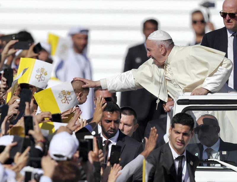Abu Dhabi, United Arab Emirates - February 05, 2019: The Pope arrives. Pope Francis takes a large public mass to mark his land mark visit to the UAE. Tuesday the 5th of February 2019 at Zayed Sports city stadium, Abu Dhabi. Chris Whiteoak / The National