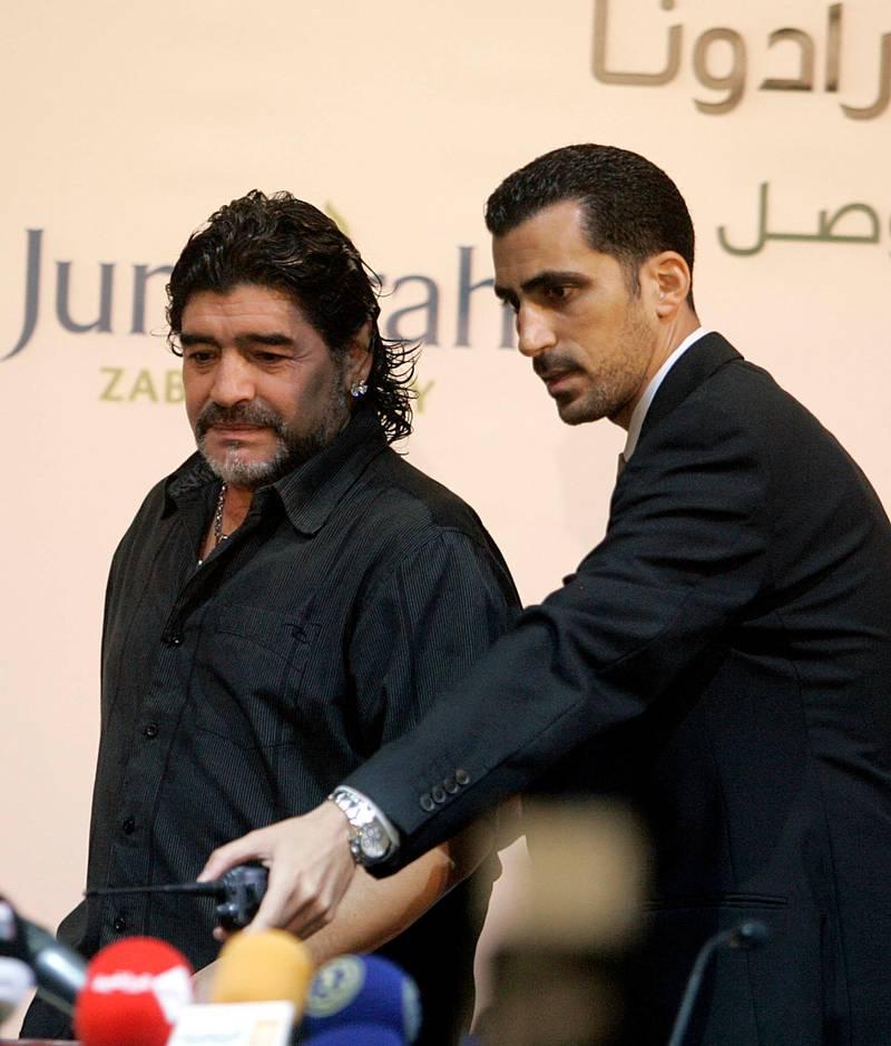 Tariq Al-Sharabi with Diego Maradona at the unveiling press conference at Zabeel Saray. Courtesy Tariq Al-Sharabi
